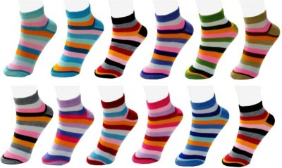 Chartbusters Women Striped Ankle Length(Pack of 12)