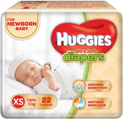 Huggies Ultra Soft Baby Diapers, XS 22 Pieces