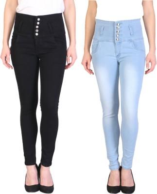 Manash Fashion Slim Women Black, Light Blue Jeans(Pack of 2)