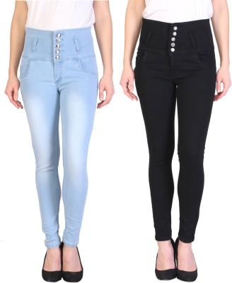 Manash Fashion Slim Women Light Blue, Black Jeans(Pack of 2)