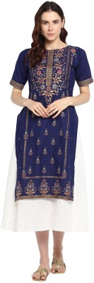 Ahalyaa Women Self Design, Printed A-line Kurta(Blue)