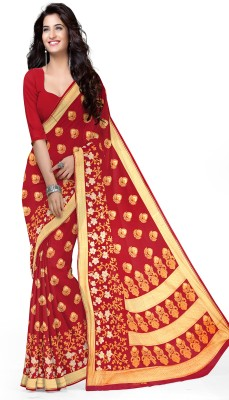 Manini Floral Print Bollywood Cotton Saree(Red, Gold) Flipkart