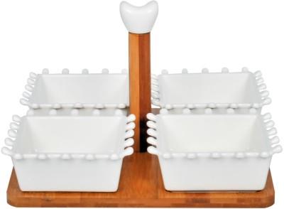 EZ Life 4 Serving Bowls & Wooden Tray Set - White - Ceramic Bowl Tray Serving Set at flipkart