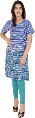 SANGANERI KURTI Women Printed, Striped Straight Kurta(Multicolor)