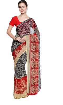 Oomph! Floral Print Fashion Chiffon Saree(Red)