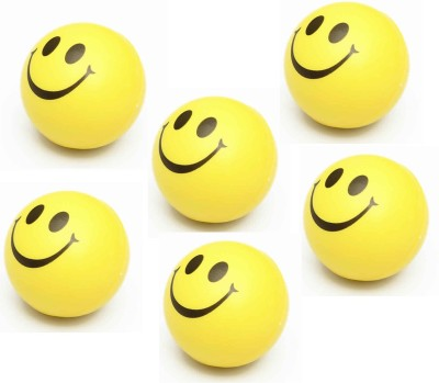 Green Apple Smiley Face Squeeze stress Balls 3 inch  Pack Of 6    Yellow   8 cm Yellow Green Apple Soft Toys