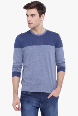 Campus Sutra Color block Men Round Neck Blue, Light Blue T-Shirt