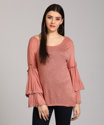 Vero Moda Casual Bell Sleeve Self Design Women Pink Top