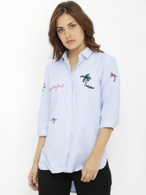 Ishin Casual Regular Sleeve Embroidered Women Yellow, Blue Top