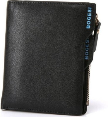 Bogesi Men Formal Black Artificial Leather Wallet 14 Card Slots