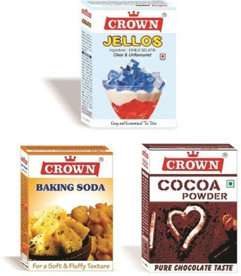 crown foods COMBO PACK OF GELATIN (50 g)+ COCOA POWDER (50 g)+BAKING SODA (100 g) Baking Soda Powder(200 g)