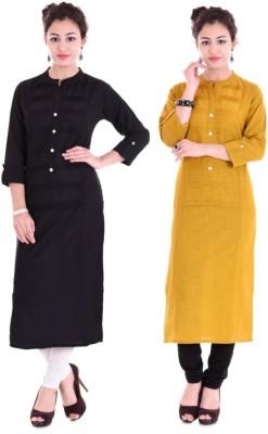 Barari Casual Solid Women Kurti(Pack of 2, Black, Yellow)