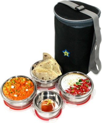 Flipkart SmartBuy High Quality Stainless Steel Containers with Chip Lock (3 x 300ml) (1 x 150ml) 4 Containers Lunch Box(1050 ml) at flipkart