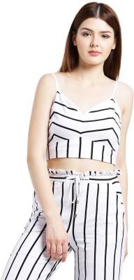 Texco Party Shoulder Strap Striped Women White Top