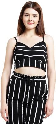 Texco Party Noodle strap Striped Women White, Black Top