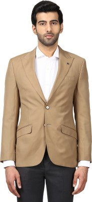Raymond Solid Single Breasted Formal Men Blazer(Brown) at flipkart