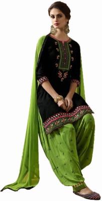 Nirjas Designer Cotton Embroidered Semi-stitched Salwar Suit Dupatta Material