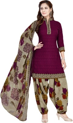 FabTag - Giftsnfriends Crepe Floral Print Semi-stitched Salwar Suit Dupatta Material