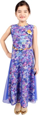 FabTag  - DELHIITE Girls Maxi/Full Length Casual Dress(Blue, Sleeveless) at flipkart