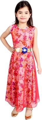 FabTag  - DELHIITE Girls Maxi/Full Length Casual Dress(Red, Sleeveless)