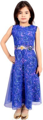 FabTag  - DELHIITE Girls Maxi/Full Length Casual Dress(Blue, Sleeveless)