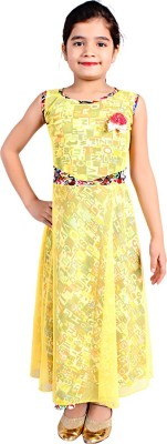 FabTag  - DELHIITE Girls Maxi/Full Length Casual Dress(Yellow, Sleeveless)