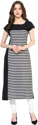 FabTag  - Krapal Women Striped Straight Kurta(Black, White)