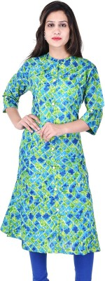 FabTag  - The Style Story Women Printed A-line Kurta(Green)