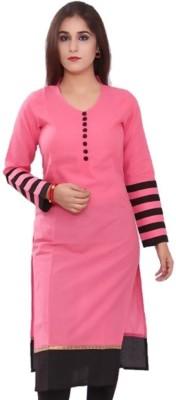 Mokshi Women Printed Straight Kurta(Pink)