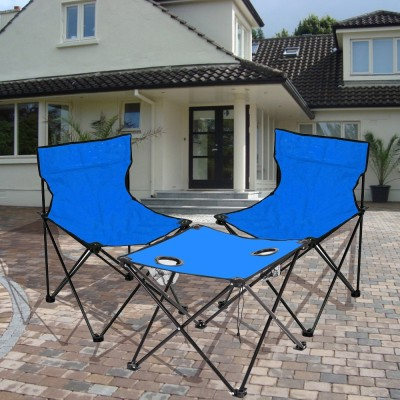 Kawachi Folding Camping Picnic Outdoor Garden Party BBQ Dining Coffee Kitchen Foldable Table and two Chair For Fishing Fabric Outdoor Chair(Finish Color - Blue)