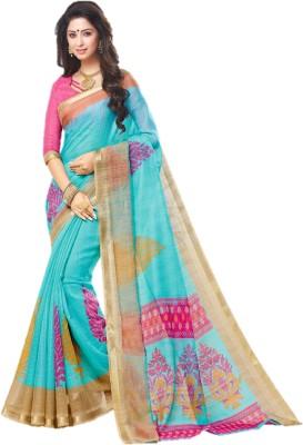 FabTag - Design Willa Printed, Solid Fashion Silk Cotton Blend Saree(Multicolor)