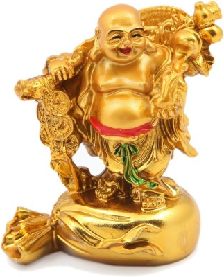 Dcreations Laughing Buddha With Coins Decorative Showpiece  -  7.62 cm(Stoneware, Multicolor) at flipkart
