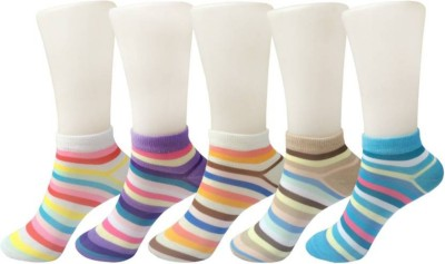 Chartbusters Women Striped Ankle Length(Pack of 5)