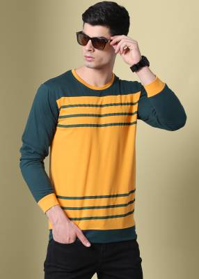 GHPC Striped Men Round Neck Gold T-Shirt
