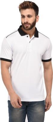 EPG Solid Men Polo Neck White T-Shirt