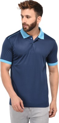 The Dry State Color block Men Polo Neck Dark Blue T-Shirt