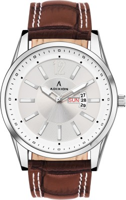 ADIXION 9322SL03 New Leather Strep day & date Stainless Steel Youth Watch Smart Analog Watch  - For Men