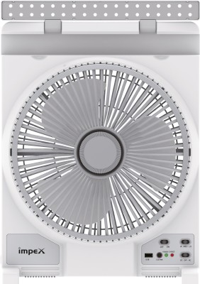 Impex Solar Rechargeable Fan (BREEZE D4) with 36 PCS LED Light 3 Speed Mode 3 Blade Table Fan(White)