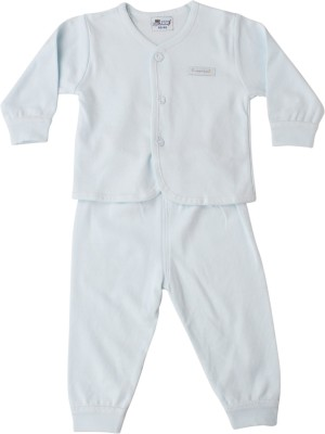 Icable Kids Nightwear Boys & Girls Solid Cotton Blend(Light Blue Pack of 1)