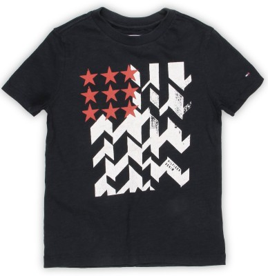 Tommy Hilfiger Boys Printed Cotton T Shirt(Black, Pack of 1)