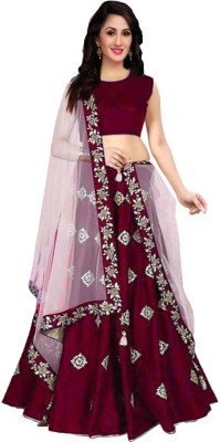 shelvinzas Embroidered Semi Stitched Lehenga, Choli and Dupatta Set(Beige, Maroon)