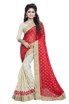 FabTag - Aashvi Creation Embroidered Fashion Georgette, Brasso Saree(Red, Beige)