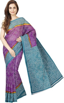 Pavechas Printed Mangalagiri Polycotton Saree(Purple, Blue)
