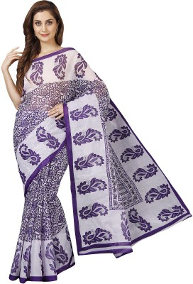Pavechas Paisley Mangalagiri Polycotton Saree(White, Purple)