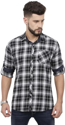 Rope Men's Checkered Casual Black Shirt