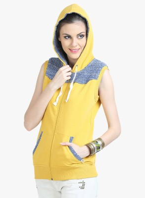 Moda Elementi Sleeveless Self Design Women Sweatshirt