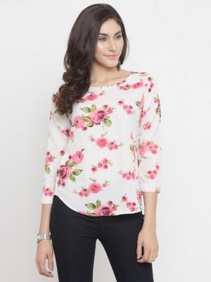 DARZI Casual 3/4 Sleeve Floral Print Women White Top