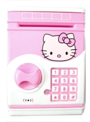 Hello Kitty Electric secret password safe ATM piggy Bank Money Safe deposit Box toy (Hello Kitty) Coin Bank(Pink)