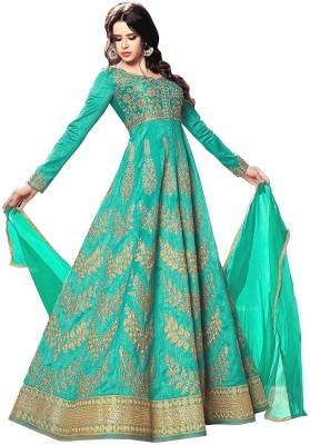Bhumik Enterprise Silk Embroidered Salwar Suit Dupatta Material(Un-stitched)