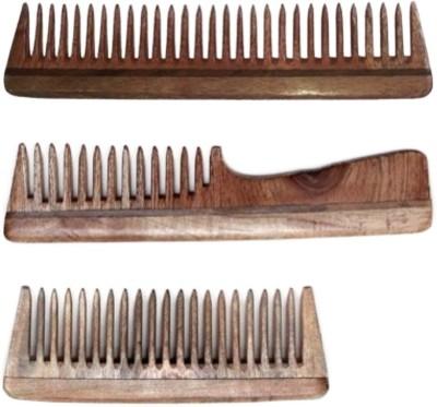 Ida's Essence Original Handmade Neem Wood Combs (Set of 3 Combs for Thick Hair)